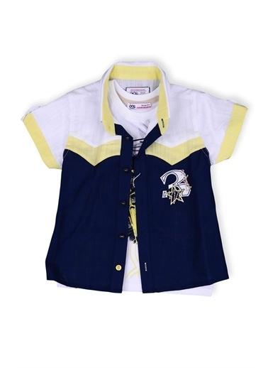 Kts Baby Kts Baby 4216 3 İşlemeli Gömlek Baskılı Body Erkek Çocuk Giyim Mavi